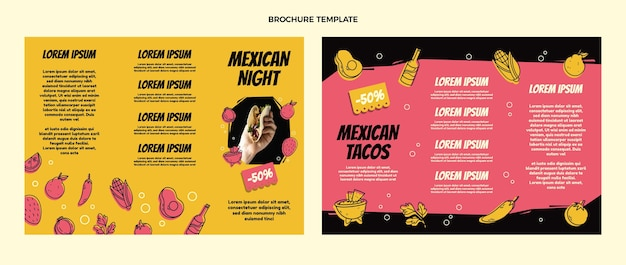 Broschüre über mexikanische lebensmittel im flachen design