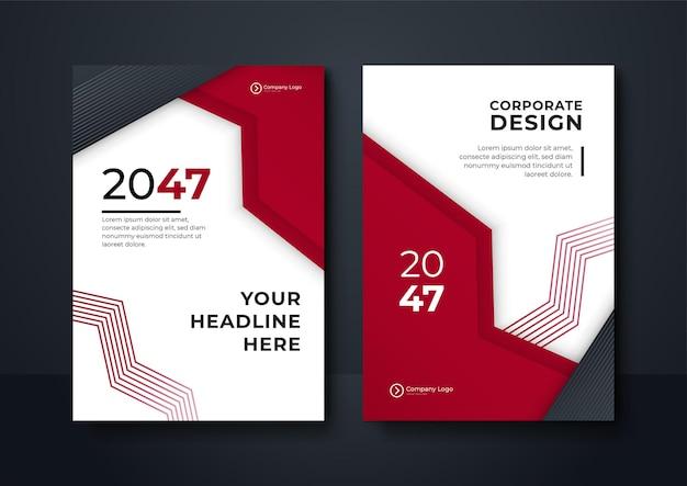 Broschüren-cover-design-vorlage mit modernen gewellten geometrischen grafiken. roter und blauer geometrischer hintergrund poster broschüre flyer design layout-vektor-vorlage im a4-format