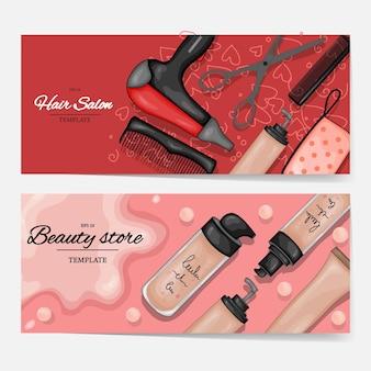 Broschüren mit kosmetischen produkten, vorlage für text. cartoon-stil. vektor-illustration.