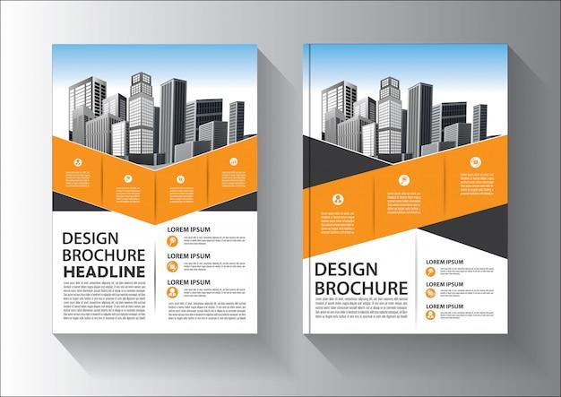 Broschüren- oder flyer-schablonendesign mit gelber und schwarzer farbe