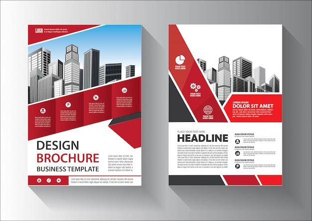 Broschüren- oder flyer-schablonendesign mit roter und schwarzer farbe