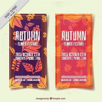 Broschüren von mid-autumn festival mit hand gezeichneten blättern