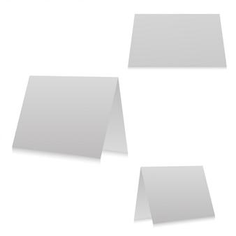 Broschürendesign lokalisiert auf weißem hintergrund. weiße 3-seitige broschürenvorlage für ihr design.