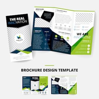 Broschürenentwurfsschablone mit geometrischen formen informationen über firmenplatz für firmenzeichen inf