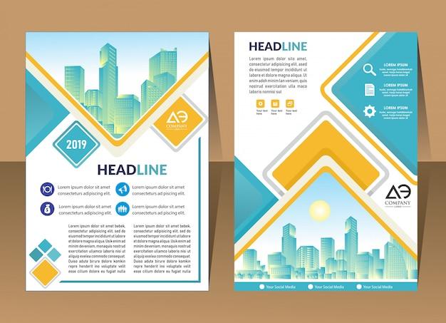 Broschürenlayout mit form-vektor-illustration zu decken