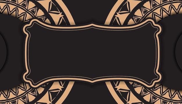 Broschürenschablone in schwarzer farbe mit braunem indischem muster