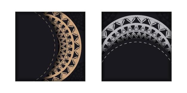 Broschürenschablone in schwarzer farbe mit braunem luxusmuster