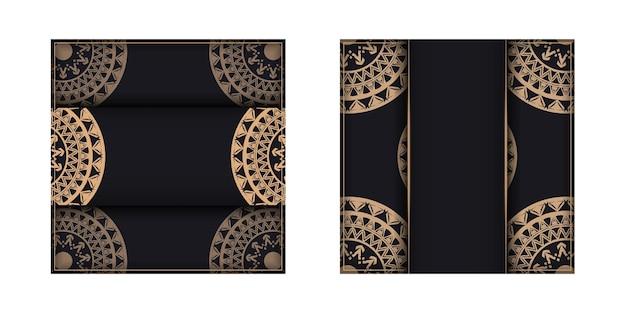 Broschürenschablone in schwarzer farbe mit braunem vintage-muster
