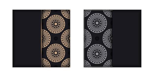 Broschürenschablone in schwarzer farbe mit brauner luxusverzierung
