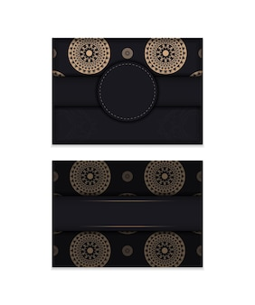 Broschürenschablone in schwarzer farbe mit brauner vintage-verzierung