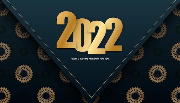 Broschürenvorlage 2022 frohe weihnachten dunkelblau mit abstraktem goldmuster