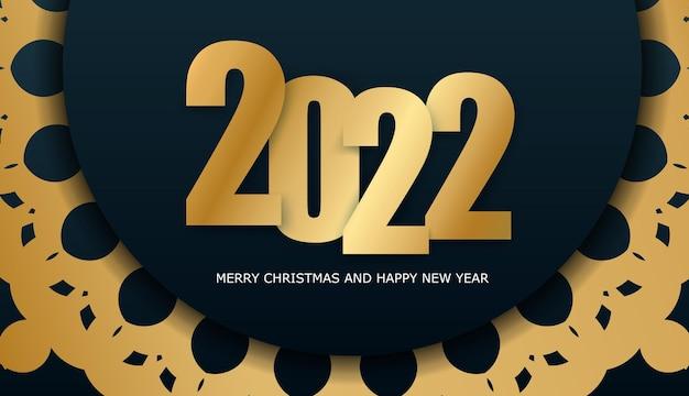 Broschürenvorlage 2022 frohe weihnachten dunkelblau mit abstrakter goldverzierung