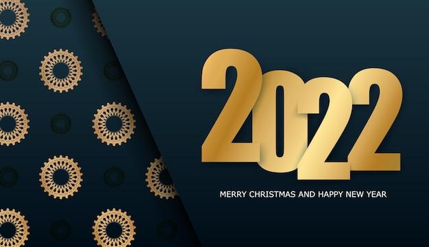 Broschürenvorlage 2022 frohe weihnachten dunkelblau mit vintage gold ornament