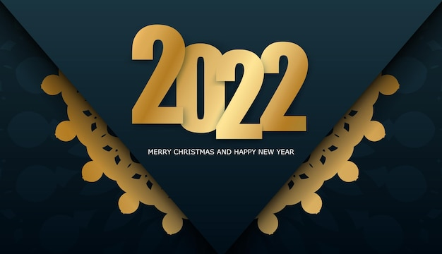 Broschürenvorlage 2022 frohe weihnachten dunkelblau mit winter gold ornament