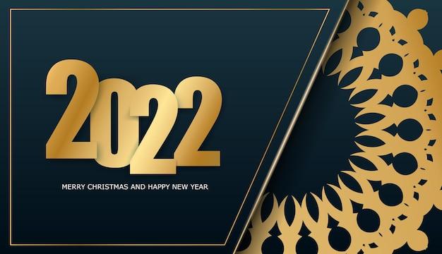 Broschürenvorlage 2022 frohe weihnachten dunkelblau mit wintergoldmuster