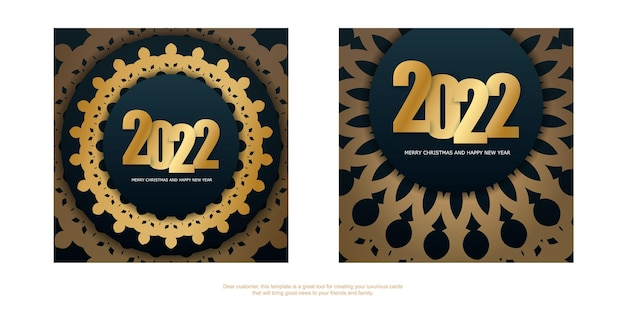 Broschürenvorlage 2022 frohe weihnachten und ein glückliches neues jahr dunkelblau mit wintergoldmuster