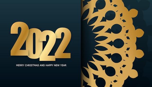 Broschürenvorlage 2022 frohes neues jahr dunkelblaue farbe mit wintergoldmuster