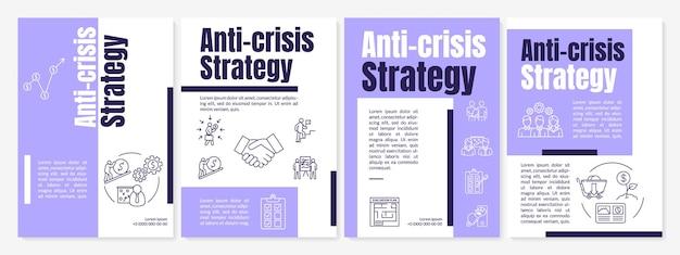 Broschürenvorlage für anti-krisen-strategien. notfall-wartungsmaßnahmen-flyer, broschüre, broschürendruck, cover-design mit linearen symbolen. vektorlayouts für zeitschriften, geschäftsberichte, werbeplakate