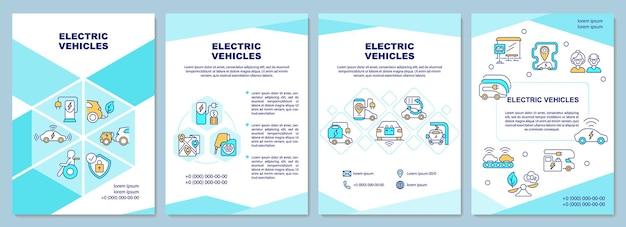 Broschürenvorlage für die demonstration von elektrofahrzeugen. flyer, broschüre, broschürendruck, cover-design mit linearen symbolen. vektorlayouts für präsentationen, geschäftsberichte, anzeigenseiten