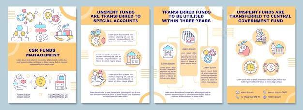 Broschürenvorlage für die verwaltung von fonds für soziale verantwortung von unternehmen. flyer, broschüre, broschürendruck, cover-design mit linearen symbolen. vektorlayouts für präsentationen, geschäftsberichte, anzeigenseiten