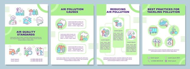 Broschürenvorlage für luftqualitätsnormen. bekämpfung der luftverschmutzung. flyer, broschüre, broschürendruck, cover-design mit linearen symbolen. vektorlayouts für präsentationen, geschäftsberichte, anzeigenseiten