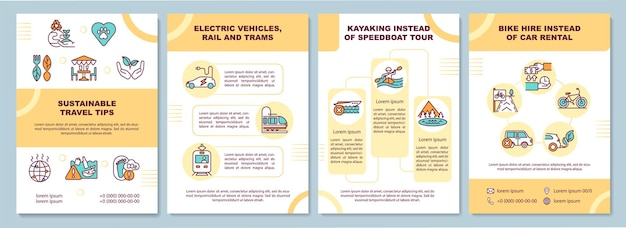 Broschürenvorlage für nachhaltige reisetipps. elektrische fahrzeuge. flyer, broschüre, faltblattdruck, umschlaggestaltung mit linearen symbolen.