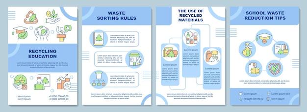 Broschürenvorlage für recycling-bildung. bewusstsein für öko-probleme. flyer, broschüre, broschürendruck, cover-design mit linearen symbolen. vektorlayouts für präsentationen, geschäftsberichte, anzeigenseiten