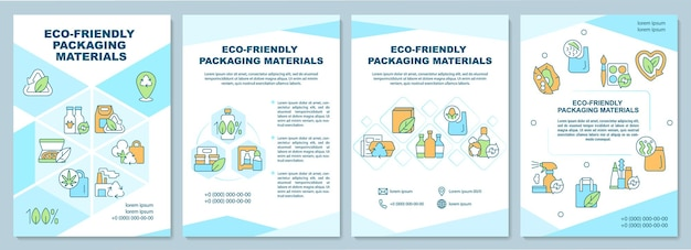 Broschürenvorlage für umweltfreundliche verpackungsmaterialien. flyer, broschüre, broschürendruck, cover-design mit linearen symbolen. vektorlayouts für präsentationen, geschäftsberichte, anzeigenseiten
