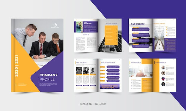 Broschürenvorlage für unternehmensfirmen in orange und lila