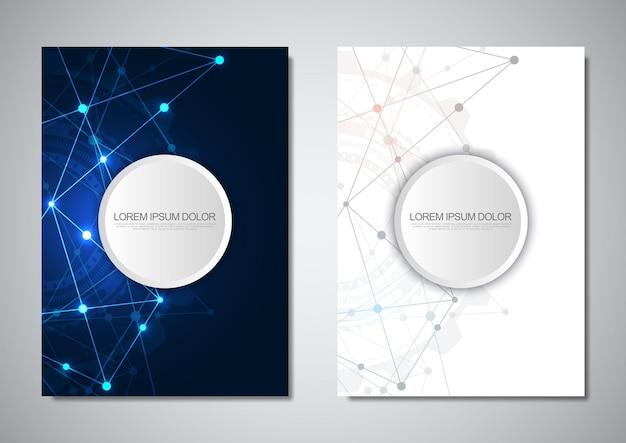 Broschürenvorlage oder cover-design. digitale technologie mit plexushintergrund und platz für ihren text. geometrischer abstrakter hintergrund von verbindenden punkten und linien.