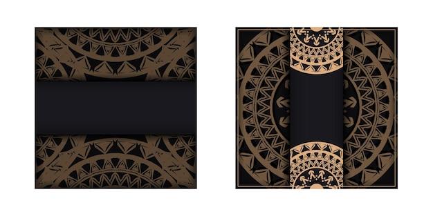 Broschürenvorlage schwarze farbe mit braunem mandalamuster