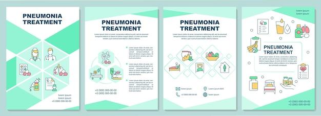 Broschürenvorlage zur behandlung von lungenentzündung. verschreiben sie antibiotika, ruhen sie sich aus. flyer, broschüre, broschürendruck, cover-design mit linearen symbolen. vektorlayouts für präsentationen, geschäftsberichte, anzeigenseiten