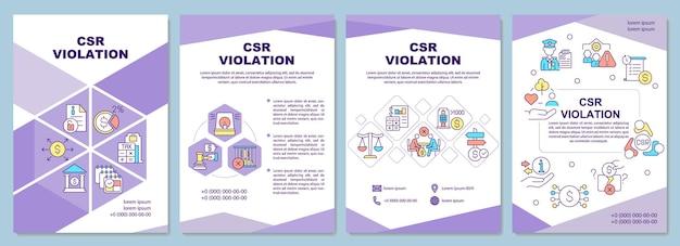 Broschürenvorlage zur verletzung der sozialen verantwortung von unternehmen. flyer, broschüre, broschürendruck, cover-design mit linearen symbolen. vektorlayouts für präsentationen, geschäftsberichte, anzeigenseiten