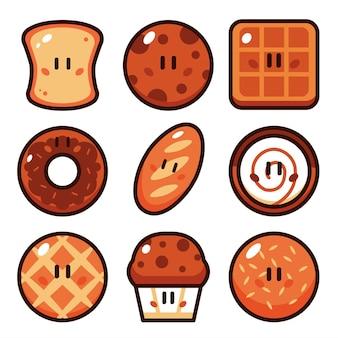 Brot-cartoon-vektor-illustration-set