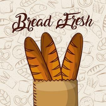 Brot frisches stangenbrot in papiertüte bäckerei hintergrund