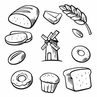Brot, getreide, weizen, donut, kuchenmühle und kochen. stellen sie vektorbäckereisymbole und -ikone ein.