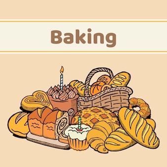 Brot, kuchen, kekse, gebäck und backwaren