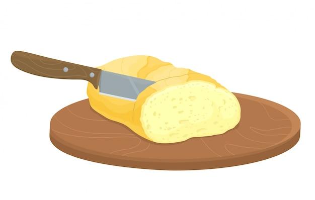 Brot mit einem messer schneiden. manuelles schneiden von produkten. baguettebrot. illustration im flachen stil.