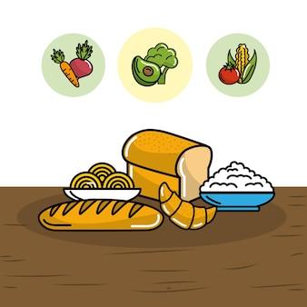 Brot mit spaghetti und mehl