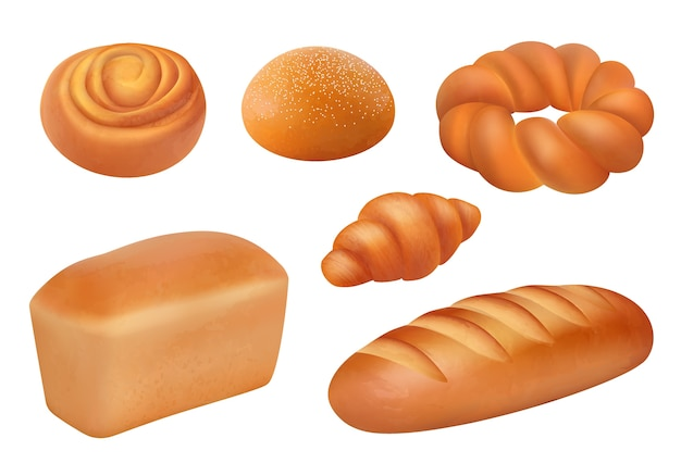 Brot realistisch. backwaren frisch schmeckende produkte französisch laib baguette brötchen frühstück bild. bäckerei brot lebensmittelsammlung illustration, laib realistisch