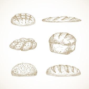 Brot-skizzen-set handgezeichnet aus challa-sauerteig-laib-ziegel und baguette