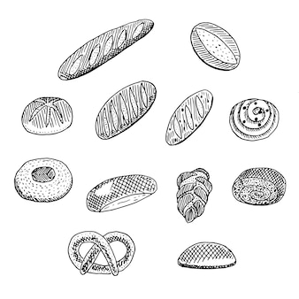 Brot- und brötchensatz, vektorillustration, skizze
