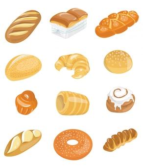 Brotikonen für bäckerei eingestellt. sammlung von backen. mehlprodukte für den markt.
