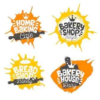 Brotladen ,, bäckerei, backhaus nach hause backen schriftzug logo label emblem design. das beste rezept, kochmütze, krone, schneebesen. hand gezeichnete illustration.