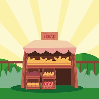 Brotmarkt auf gestreiftem hintergrunddesign der ladeneinzelhandelsillustration