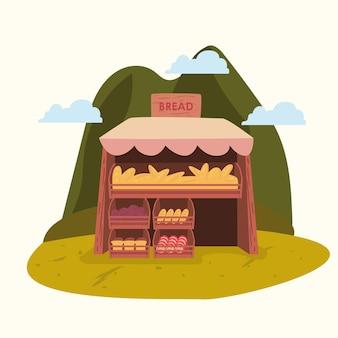 Brotmarkt außerhalb der designillustration