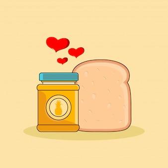 Brotmarmelade mit ananasgeschmack und brot-clipart-illustration. fast-food-clipart-konzept isoliert. flacher cartoon-stilvektor