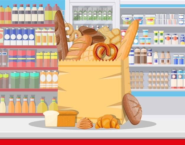 Brotprodukte im supermarktinnenraum des einkaufszentrums
