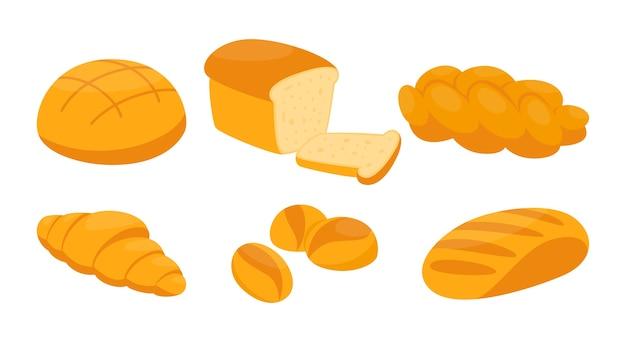 Brotset. frische bäckerei, brot, bagel, brötchen und baguette. gesundes essen