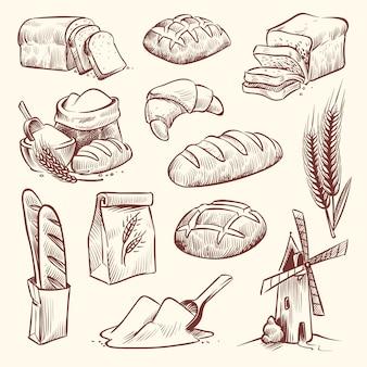 Brotskizze. mehlmühle baguette französisch backen brötchen essen weizen traditionelle bäckerei korb getreide gebäck toast scheibe gesetzt